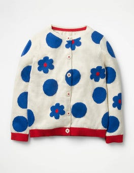Ecru Marl Flowers Fun Cardigan