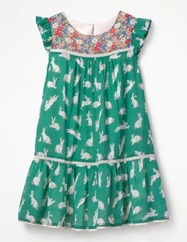 Lily Pad Green Bunnies Crinkle Hotchpotch Dress