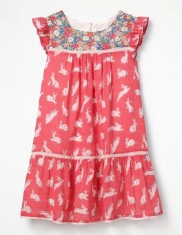 Candy Pink Bunnies Crinkle Hotchpotch Dress
