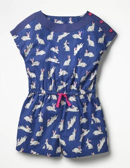 Starboard Blue Bunnies Printed Woven Playsuit