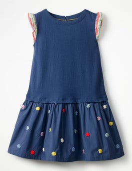 Starboard Blue Fun Jersey Woven Dress