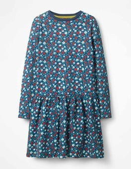 Starboard Blue Ditsy Floral Sweatshirt Dress