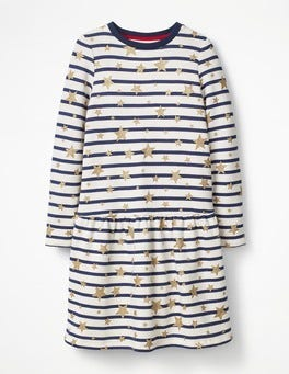 Ecru/Starboard Blue Sweatshirt Dress