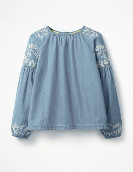 Chambray Embroidered Woven Top