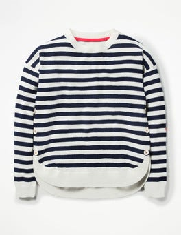 School Navy/Ecru Button Detail Sweater