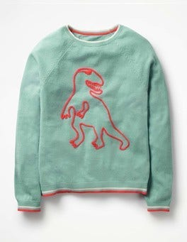 Orkney Green T-Rex Full-of-Character Jumper