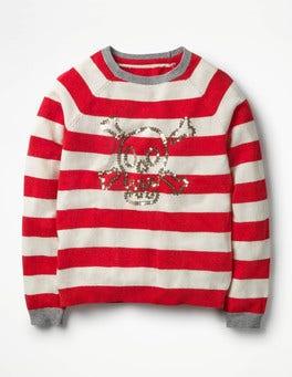 Circus Red/Ecru Skull Full-of-Character Sweater