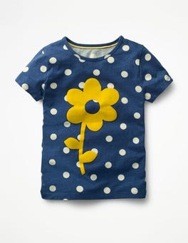 Starboard Blue Spots Flower Flock Printed T-shirt