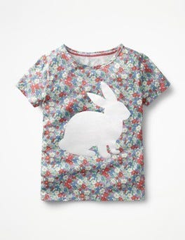 Floral Bunny Flock Printed T-shirt
