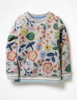 Grey Marl Floating Flowers Cosy Printed Sweatshirt
