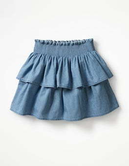Chambray Ruffly Denim Skirt