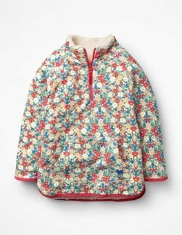 Strawberry Split Pink Floral Reversible Teddy Sweatshirt
