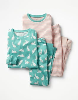 Green Bunnies/Provence Pink Twin Pack Long John Pyjamas