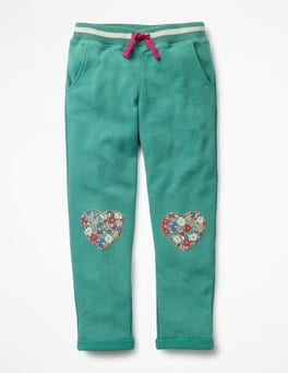 Soft Lilypad Green Heart Appliqué Sweatpants