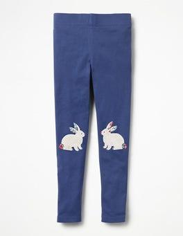 Starboard Blue Floral Bunnies Appliqué Leggings