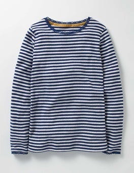 Ivory/Starboard Blue Supersoft Pointelle T-shirt