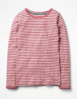 Ecru/Rose Blossom Pink Supersoft Pointelle T-shirt