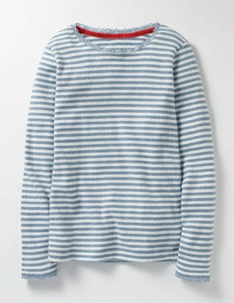 Wren Blue/Ecru Supersoft Pointelle T-shirt