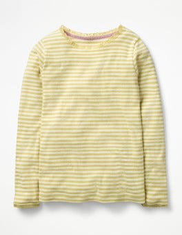 Ecru/Zest Yellow Supersoft Pointelle T-shirt