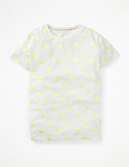 Ivory/Fluoro Yellow Spot Printed Spot T-shirt
