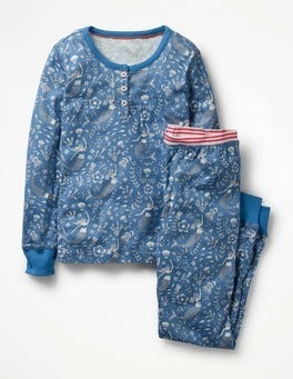 Washed Bluebell Mermaid Toile Henley Pajama Set