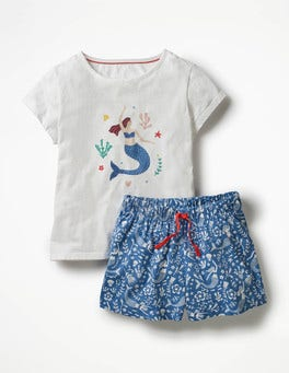 Ivory/Bluebell Mermaid Toile Shortie Pyjama Set