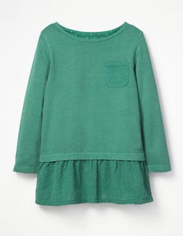 Jungle Green Floaty Jersey Woven Top