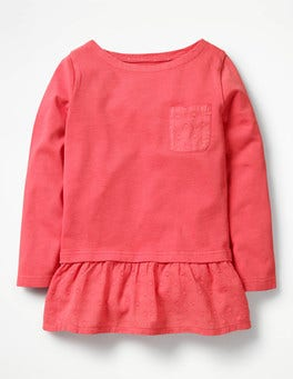 Strawberry Split Pink Floaty Jersey Woven Top