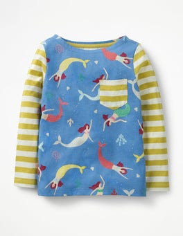 Penzance Blue Mermaid Hotchpotch Pocket T-shirt