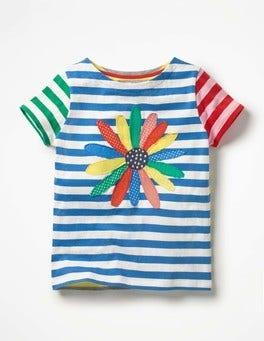 Skipper Blue/Ecru Flower Hotchpotch Appliqué T-shirt