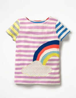 Lavender Purple/Ecru Rainbow Hotchpotch Appliqué T-shirt