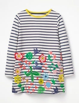 Ecru/Starboard Blue Flowers Stripy Appliqué Tunic