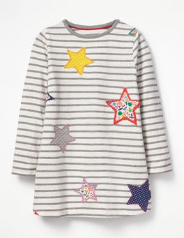 Ecru/Grey Marl Star Stripy Appliqué Tunic