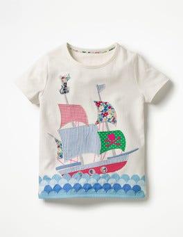 Ivory Boat Patchwork Appliqué T-shirt