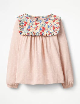 Provence Dusty Pink Spot Frilly Smock Top