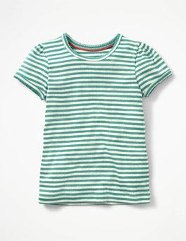 Ecru/Soft Lilypad Green Short-sleeved Pointelle Top