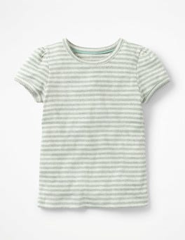 Ecru/Grey Marl Short-sleeved Pointelle Top