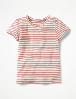 Ecru/Carousel Pink Short-sleeved Pointelle Top