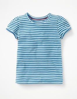 Skipper Blue/Ecru Short-sleeved Pointelle Top