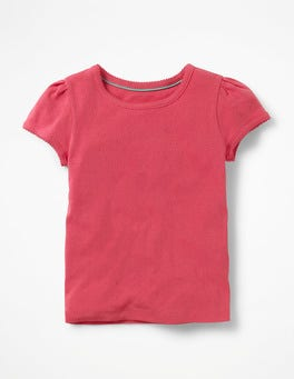 Strawberry Split Pink Short-sleeved Pointelle Top