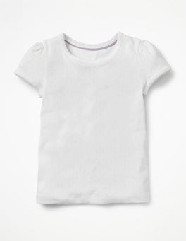 White Short-sleeved Pointelle Top