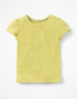 Zest Yellow Short-sleeved Pointelle Top
