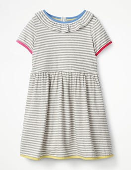 Grey Marl/Ecru Stripy Jersey Ruffle Dress