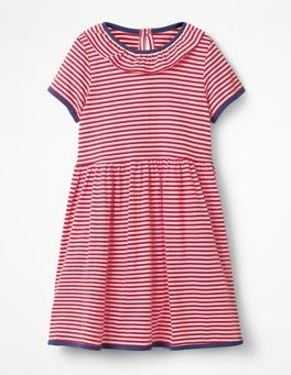 Circus Red/Ecru Stripy Jersey Ruffle Dress