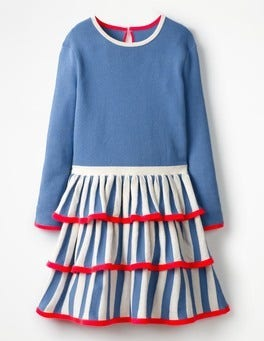 Penzance Blue Circus Stripe Knitted Dress