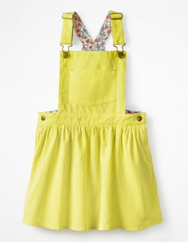 Zest Yellow Overall Pinafore Dress
