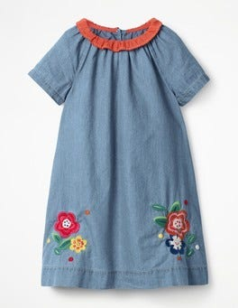 Light Chambray Embroidered Denim Dress