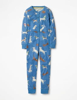 Penzance Blue Party Pups Printed All-in-one Pajamas