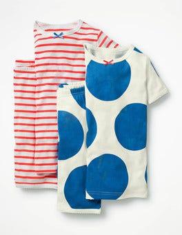 Skipper Blue Spot/Fluoro Twin Pack Short John Pyjamas