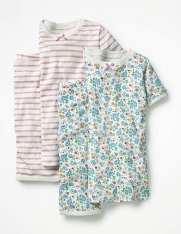 Ivory Summer Floral/Light Pink Twin Pack Short John Pyjamas